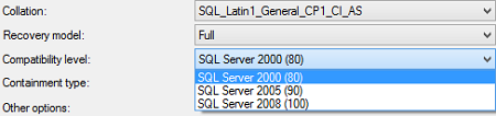 ApexSQL Log cannot recognize database if its compatibility level is 80 or lower