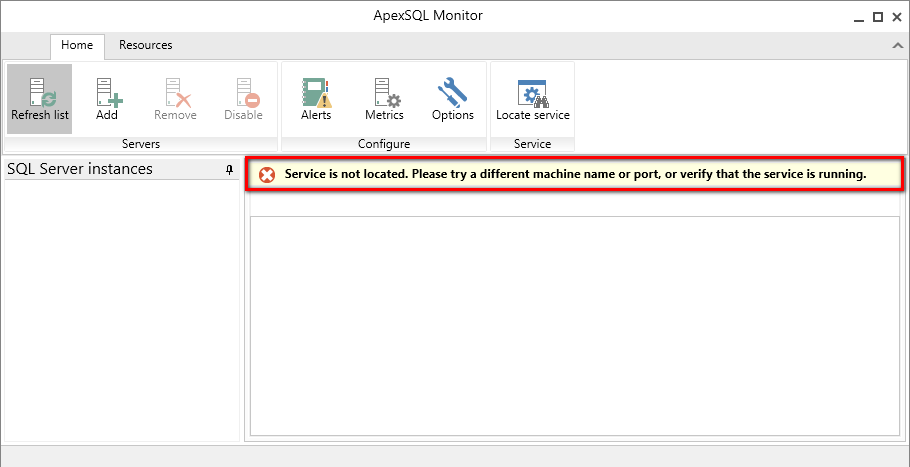 Service not located error shown in ApexSQL Monitor