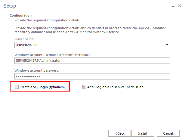 "Unchecking the ""Create SQL logon (sysadmin)"" option in the Configuration dialog"