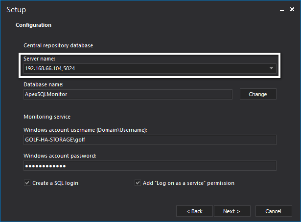 The configuratiion step of the ApexSQL Monitor installer
