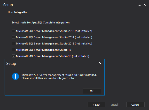 ApexSQL add-ins do not integrate with SQL Server Management