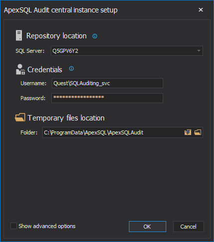 ApexSQL Audit central configuration settings