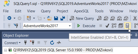 Enable IntelliSense under the SQL Edit toolbar