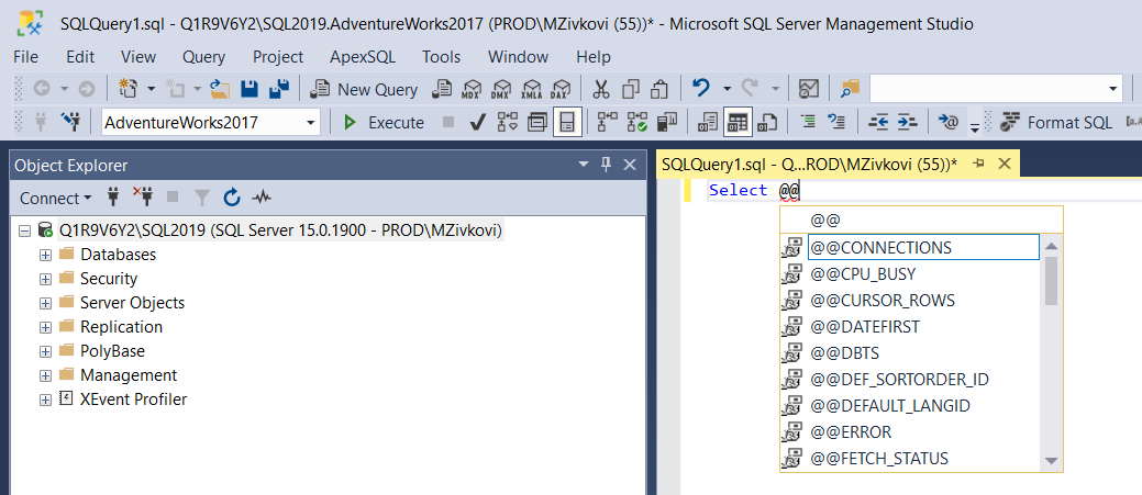 SSMS IntelliSense in a query window
