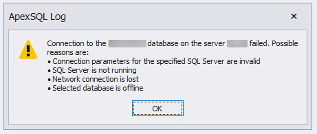Application warning message indicating that connection to the database on the server failed and list of possible causes